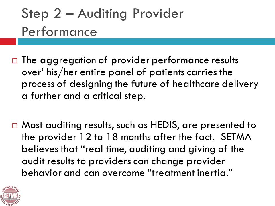 Step 2 – Auditing Provider Performance The aggregation of provider performance results over his/her entire panel of patients carries the process of designing the future of healthcare delivery a further and a critical step.
