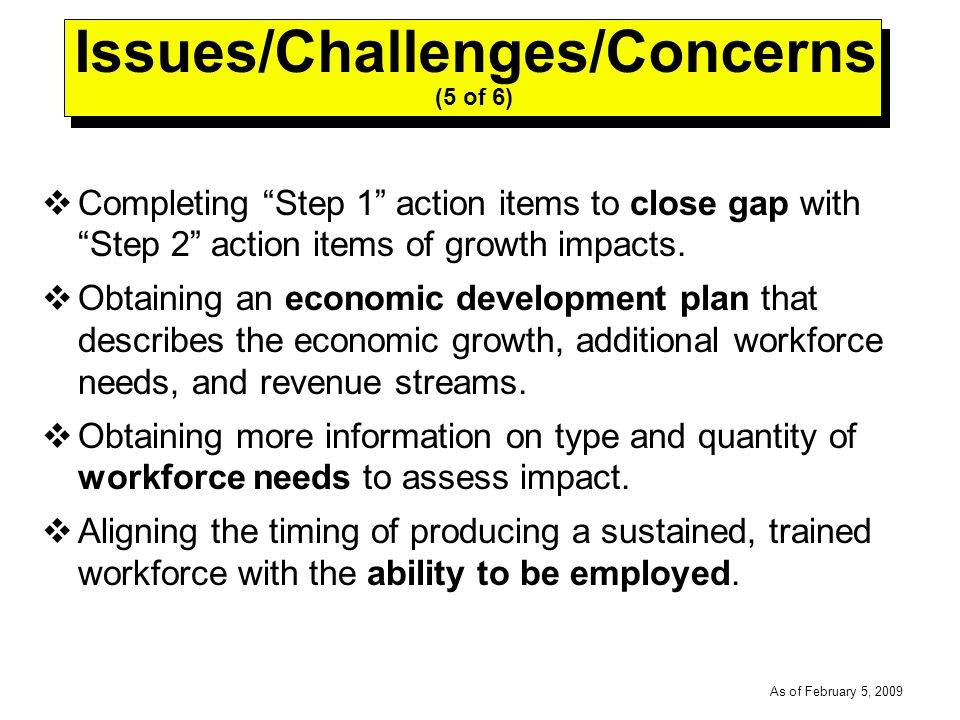 -----DRAFT----- As of February 5, 2009 Completing Step 1 action items to close gap with Step 2 action items of growth impacts.