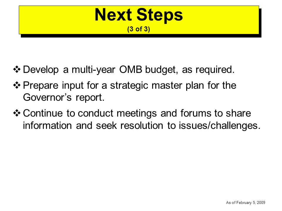 -----DRAFT----- As of February 5, 2009 Develop a multi-year OMB budget, as required.