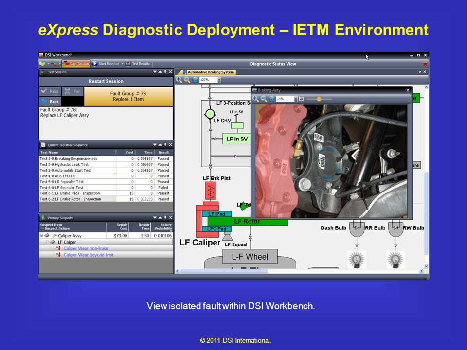 eXpress Diagnostic Deployment – IETM Environment View isolated fault within DSI Workbench.