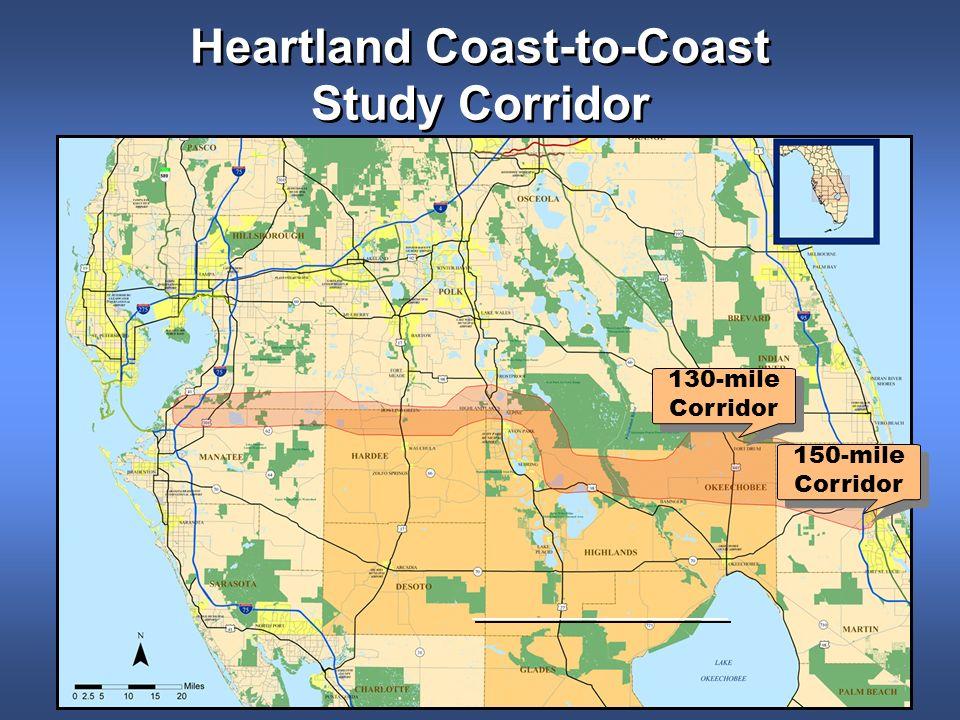 Heartland Coast-to-Coast Study Corridor 130-mile Corridor 130-mile Corridor 150-mile Corridor 150-mile Corridor
