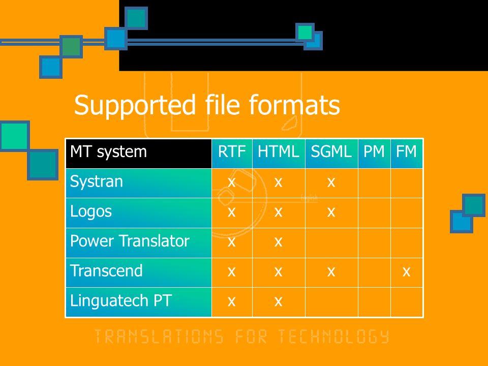 Supported file formats xxLinguatech PT xxxxTranscend xxPower Translator xxxLogos xxxSystran FMPMSGMLHTMLRTFMT system