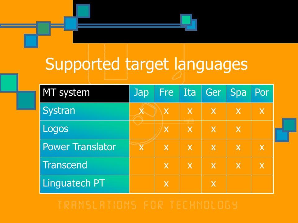 Supported target languages xxLinguatech PT xxxxxTranscend xxxxxxPower Translator xxxxLogos xxxxxxSystran PorSpaGerItaFreJapMT system