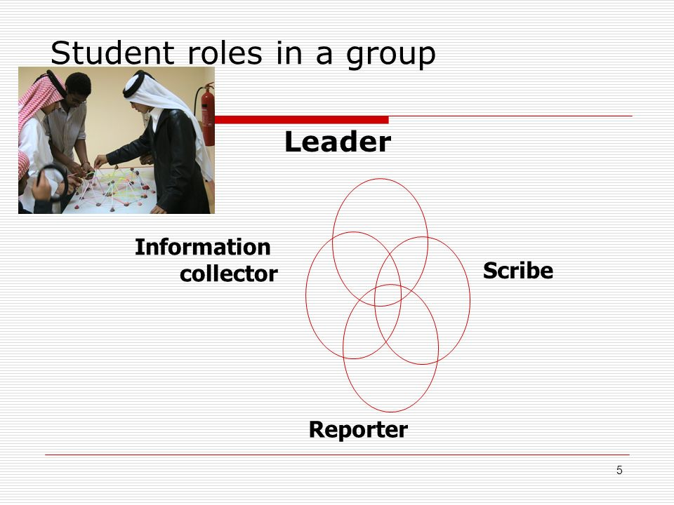5 Student roles in a group Leader Scribe Information collector Reporter