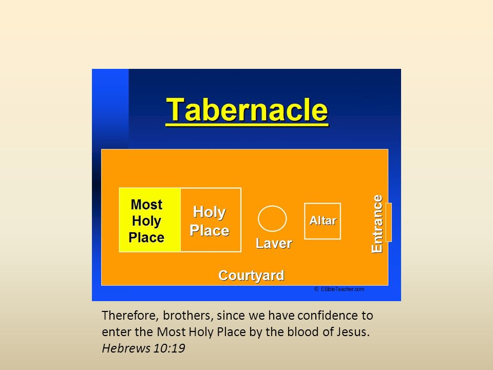Therefore, brothers, since we have confidence to enter the Most Holy Place by the blood of Jesus.