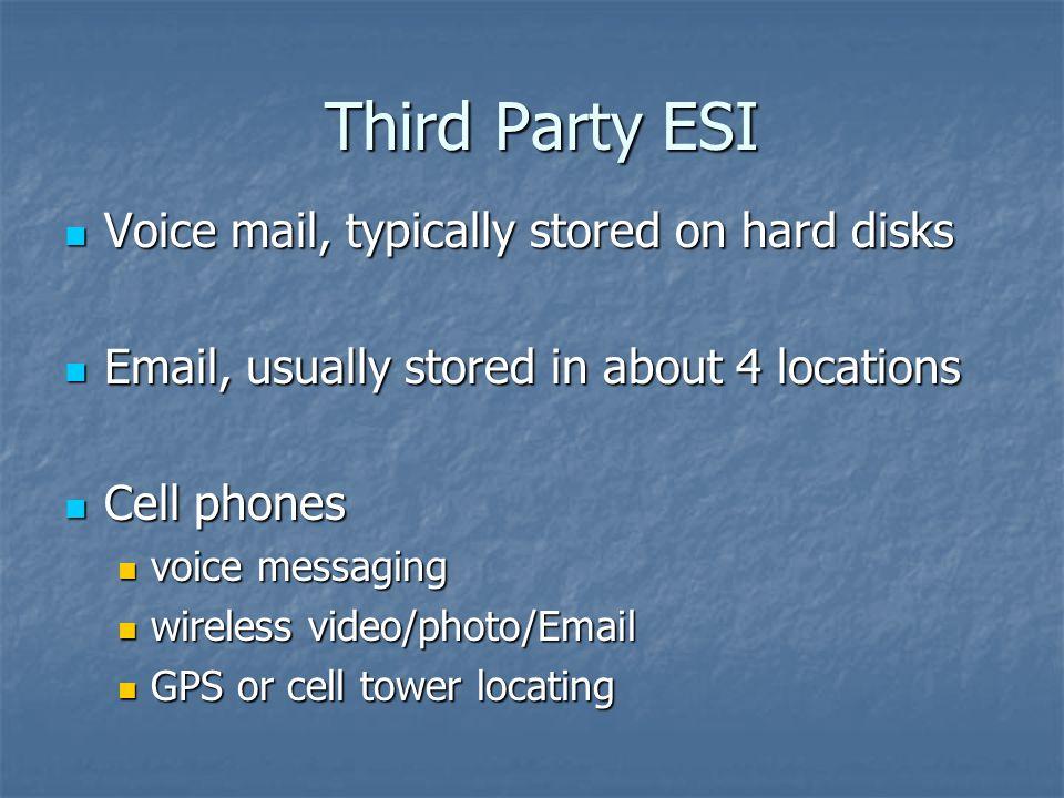 Third Party ESI Third Party ESI Voice mail, typically stored on hard disks Voice mail, typically stored on hard disks Email, usually stored in about 4