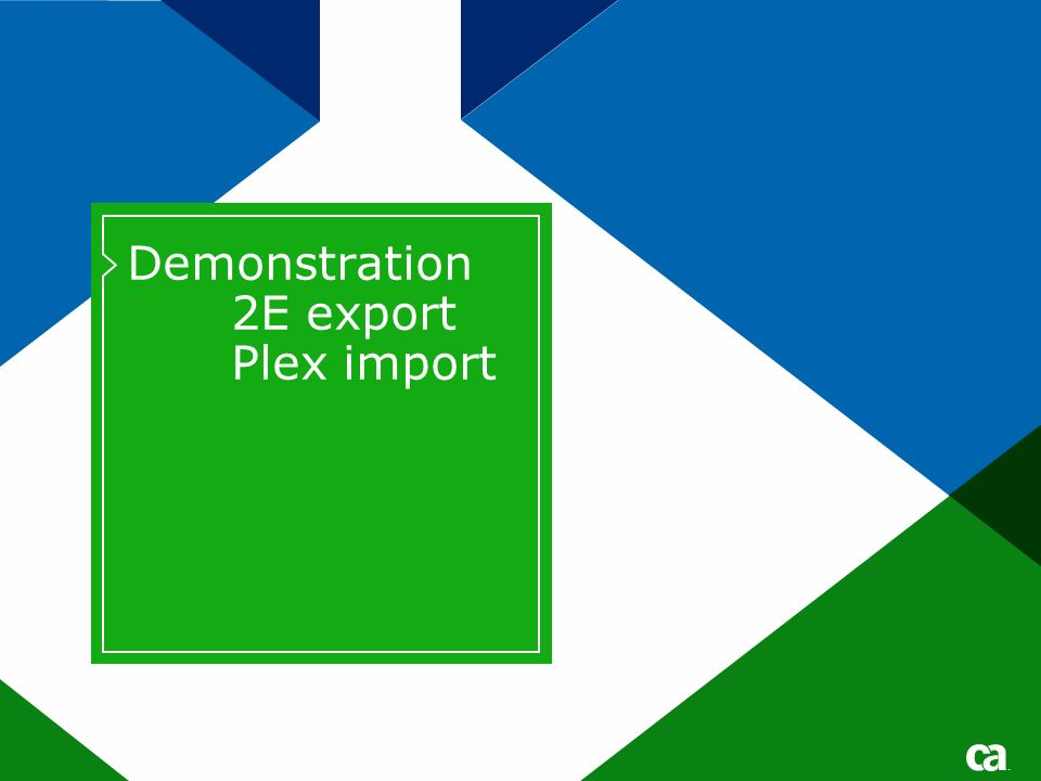 Demonstration 2E export Plex import Title text for Title or Divider pages should be either 40 pt for short titles /28 pt for subtitles or 32 pts for longer titles /24 pt for subtitles No DATE on divider pages.