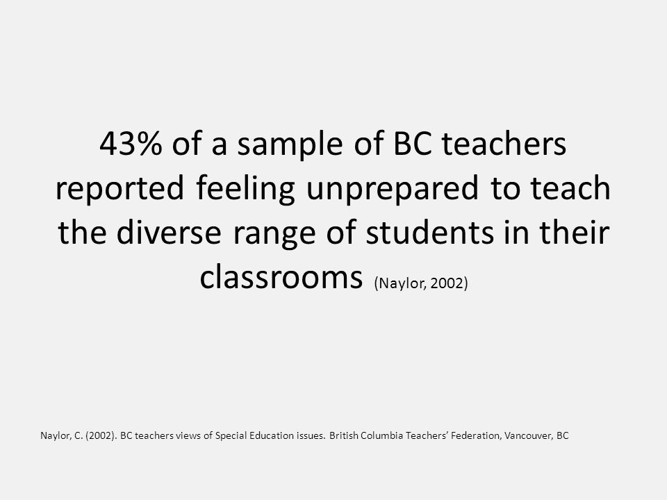 43% of a sample of BC teachers reported feeling unprepared to teach the diverse range of students in their classrooms (Naylor, 2002) Naylor, C.