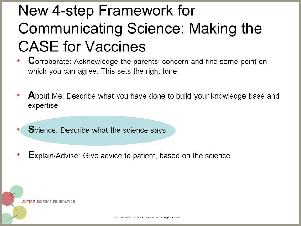 New 4-step Framework for Communicating Science: Making the CASE for Vaccines C orroborate: Acknowledge the parents concern and find some point on which you can agree.