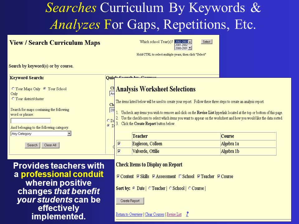 Searches Curriculum By Keywords & Analyzes For Gaps, Repetitions, Etc. Provides teachers with a professional conduit wherein positive changes that ben