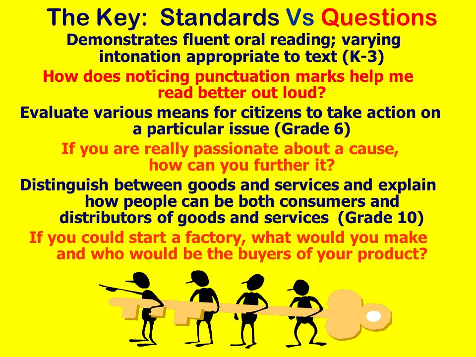The Key: Standards Vs Questions Demonstrates fluent oral reading; varying intonation appropriate to text (K-3) How does noticing punctuation marks hel