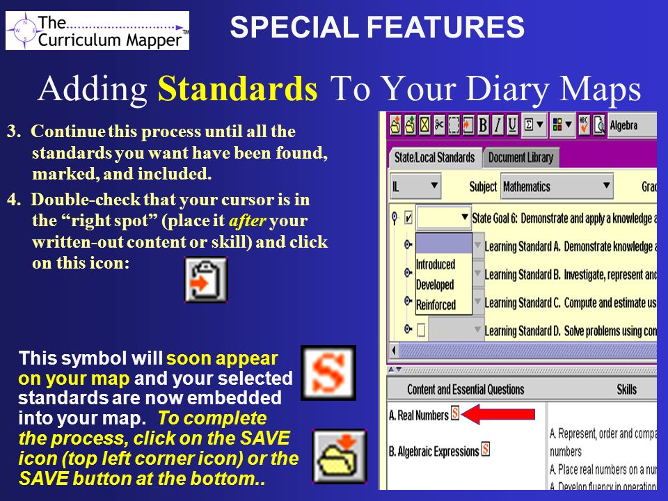Adding Standards To Your Diary Maps 3.