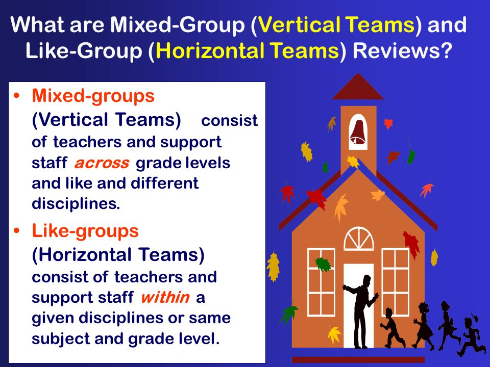 What are Mixed-Group (Vertical Teams) and Like-Group (Horizontal Teams) Reviews? Mixed-groups (Vertical Teams) consist of teachers and support staff a
