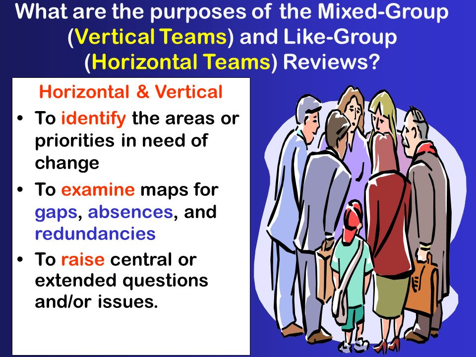 What are the purposes of the Mixed-Group (Vertical Teams) and Like-Group (Horizontal Teams) Reviews.