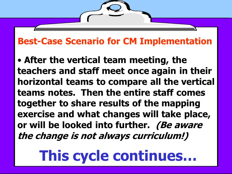 Best-Case Scenario for CM Implementation After the vertical team meeting, the teachers and staff meet once again in their horizontal teams to compare all the vertical teams notes.