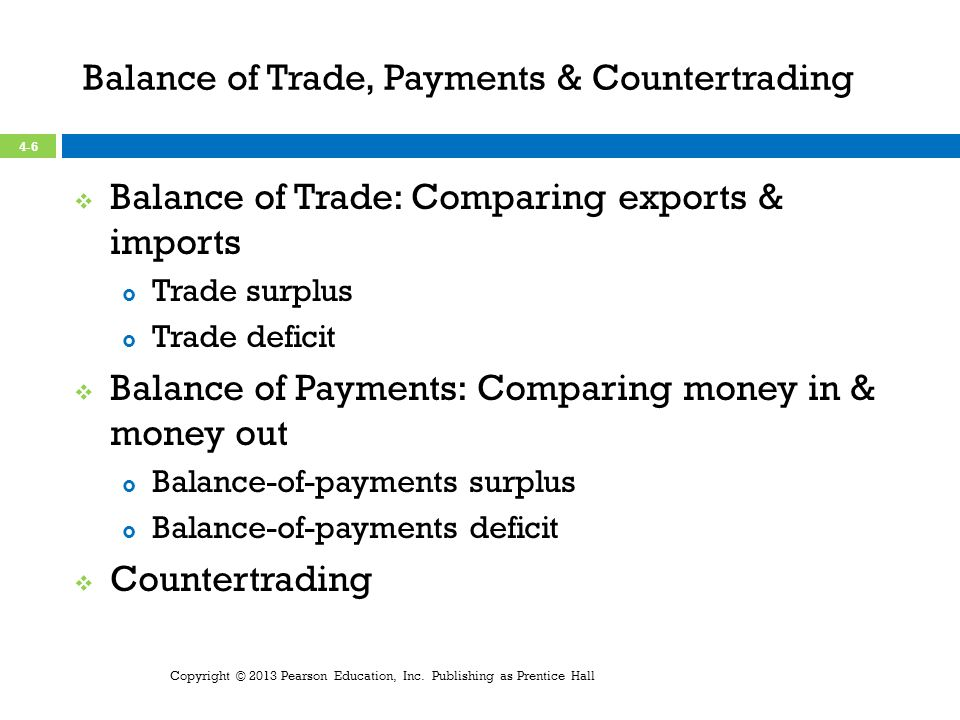 Balance of Trade, Payments & Countertrading Balance of Trade: Comparing exports & imports Trade surplus Trade deficit Balance of Payments: Comparing money in & money out Balance-of-payments surplus Balance-of-payments deficit Countertrading Copyright © 2013 Pearson Education, Inc.