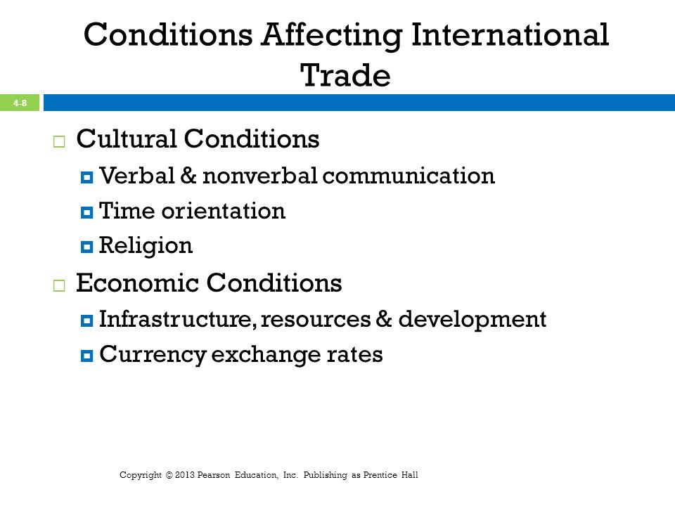 Conditions Affecting International Trade Cultural Conditions Verbal & nonverbal communication Time orientation Religion Economic Conditions Infrastructure, resources & development Currency exchange rates Copyright © 2013 Pearson Education, Inc.