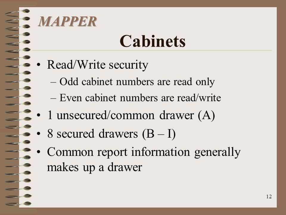 12 Read/Write security –Odd cabinet numbers are read only –Even cabinet numbers are read/write 1 unsecured/common drawer (A) 8 secured drawers (B – I)