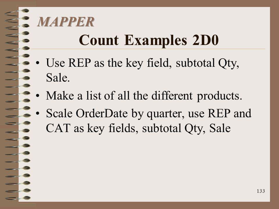 133 Use REP as the key field, subtotal Qty, Sale. Make a list of all the different products. Scale OrderDate by quarter, use REP and CAT as key fields