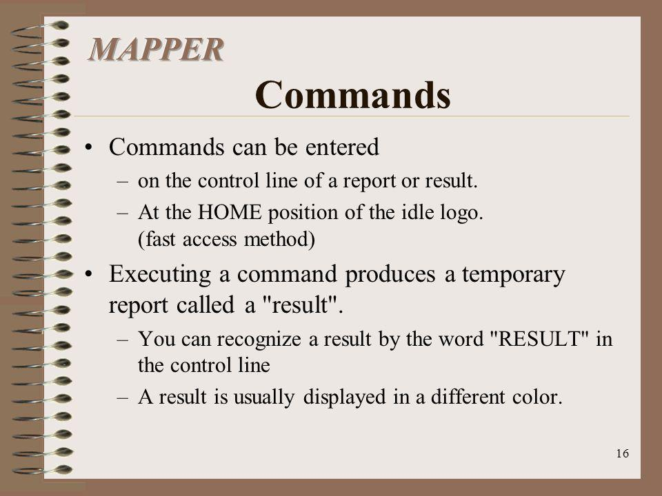 16 Commands can be entered –on the control line of a report or result. –At the HOME position of the idle logo. (fast access method) Executing a comman