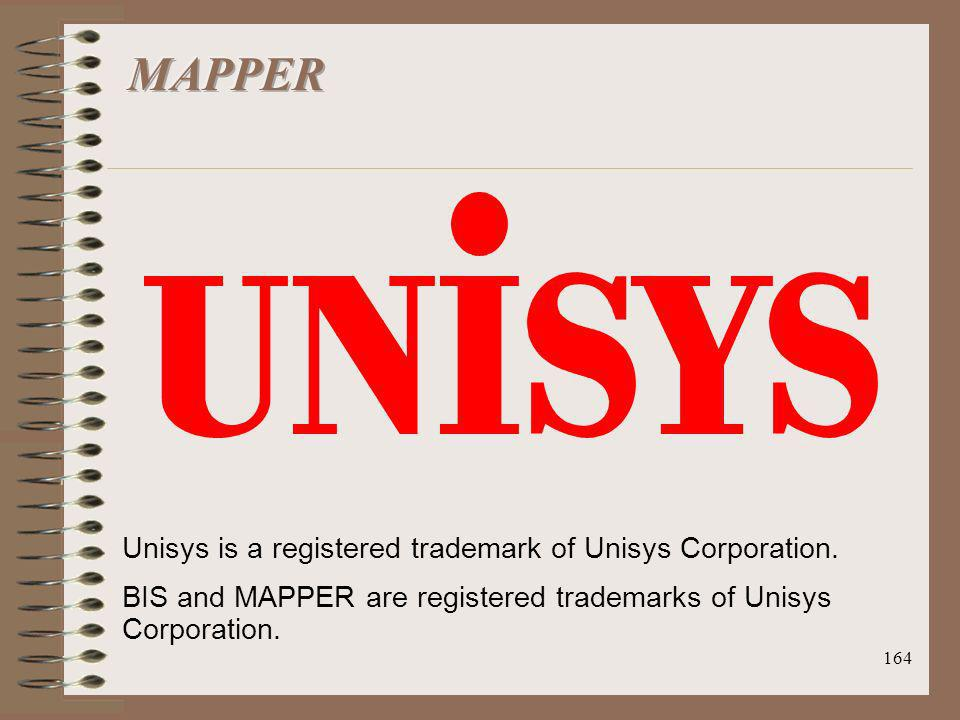 164 Unisys is a registered trademark of Unisys Corporation. BIS and MAPPER are registered trademarks of Unisys Corporation.