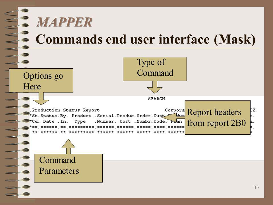 17 Options go Here Command Parameters Type of Command Report headers from report 2B0
