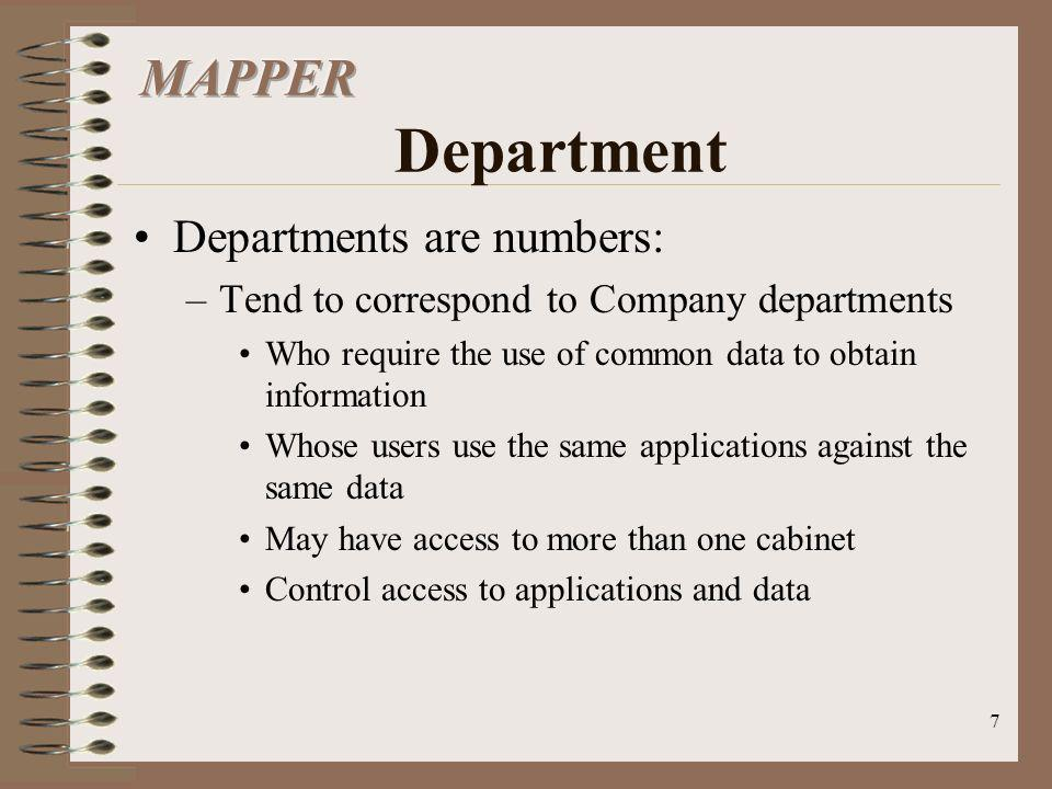 7 Departments are numbers: –Tend to correspond to Company departments Who require the use of common data to obtain information Whose users use the sam