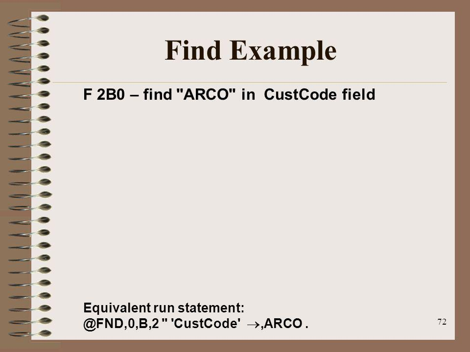 72 Find Example F 2B0 – find