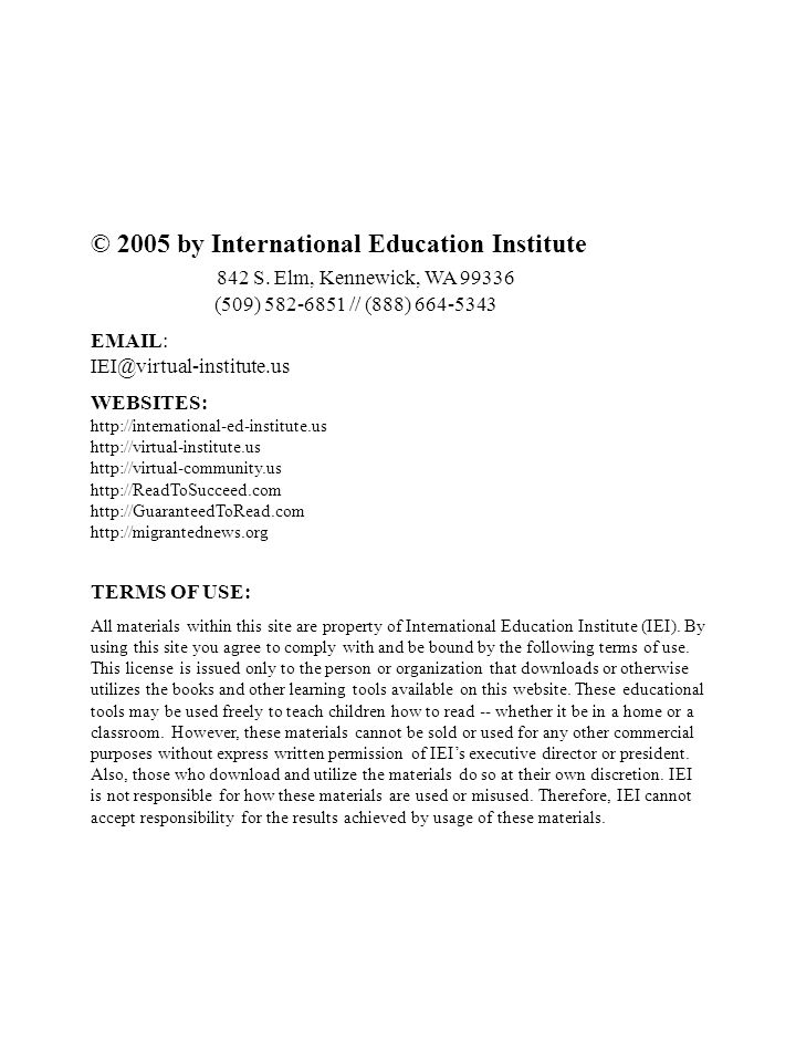 © 2005 by International Education Institute 842 S.