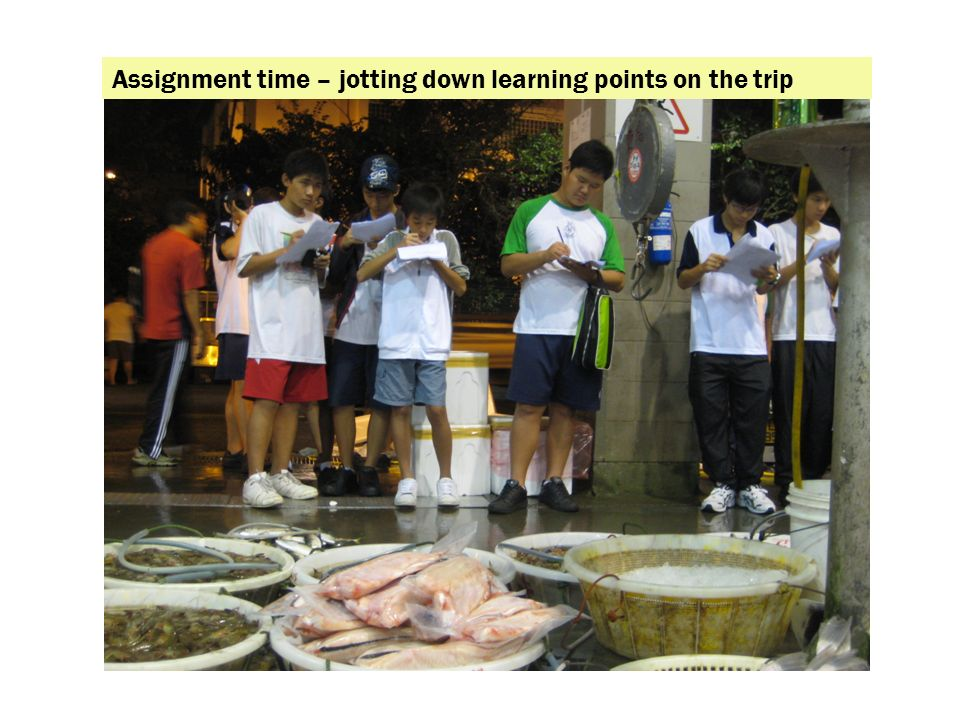 Assignment time – jotting down learning points on the trip