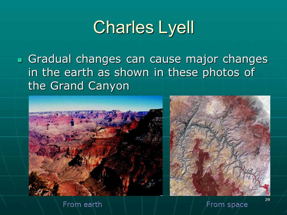29 Charles Lyell Gradual changes can cause major changes in the earth as shown in these photos of the Grand Canyon Gradual changes can cause major cha