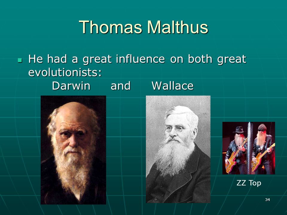 34 Thomas Malthus He had a great influence on both great evolutionists: Darwin and Wallace He had a great influence on both great evolutionists: Darwi