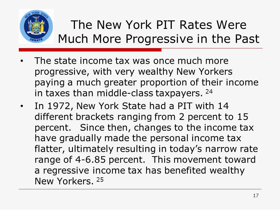 The New York PIT Rates Were Much More Progressive in the Past The state income tax was once much more progressive, with very wealthy New Yorkers paying a much greater proportion of their income in taxes than middle-class taxpayers.