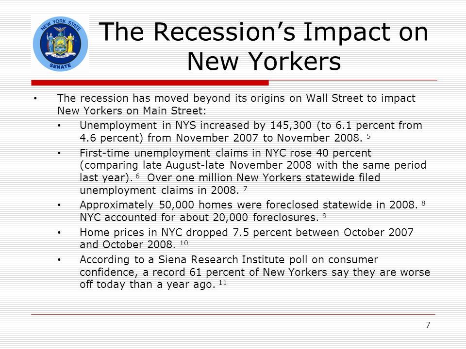 The Recessions Impact on New Yorkers The recession has moved beyond its origins on Wall Street to impact New Yorkers on Main Street: Unemployment in NYS increased by 145,300 (to 6.1 percent from 4.6 percent) from November 2007 to November 2008.