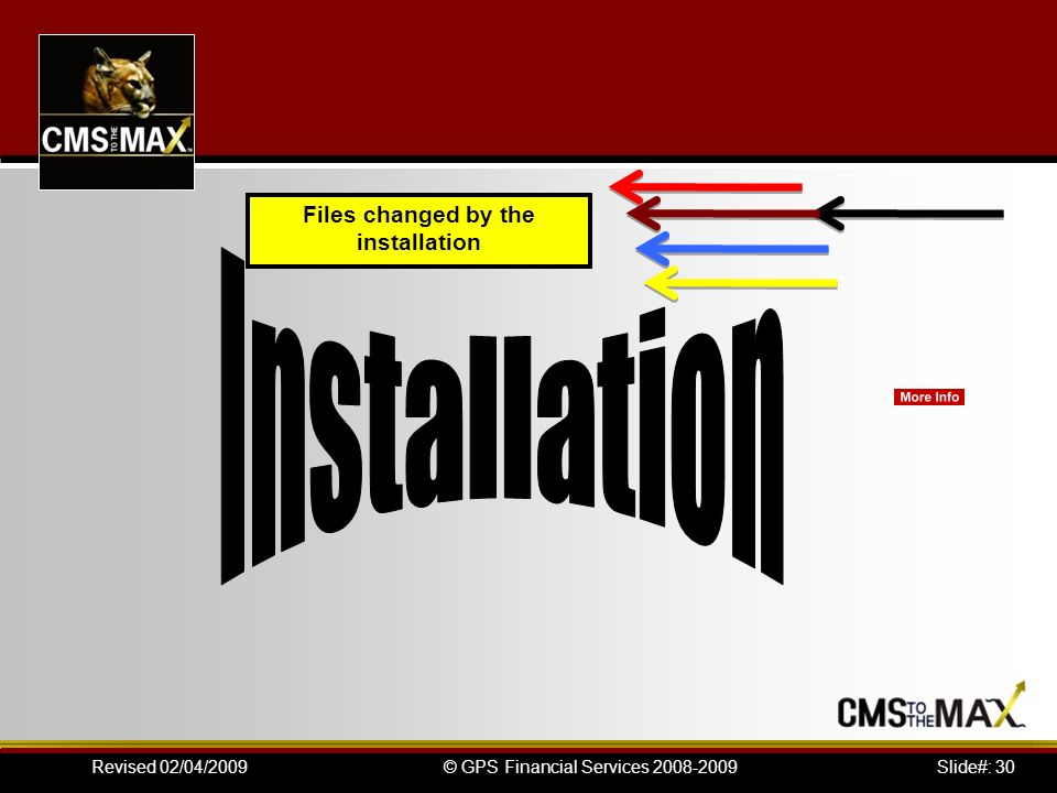 Slide#: 30© GPS Financial Services 2008-2009Revised 02/04/2009 Files changed by the installation