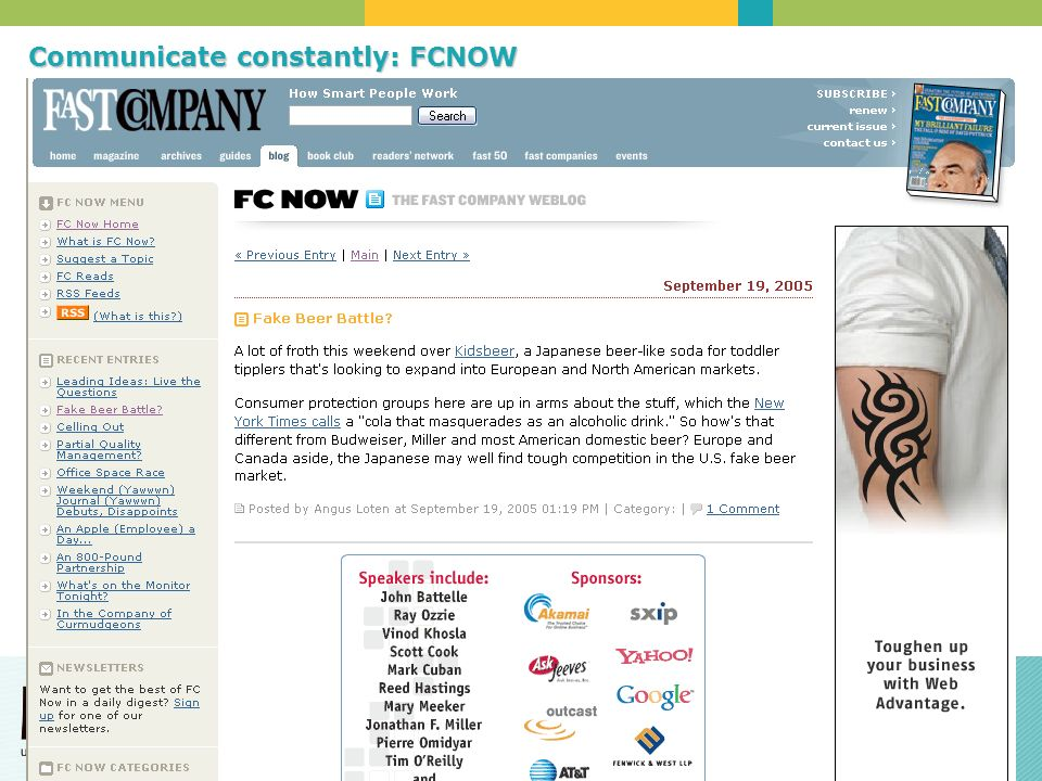 Communicate constantly: FCNOW