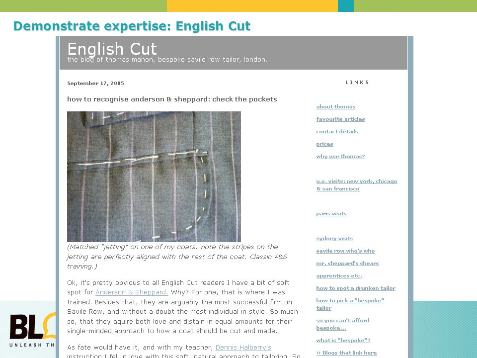Demonstrate expertise: English Cut