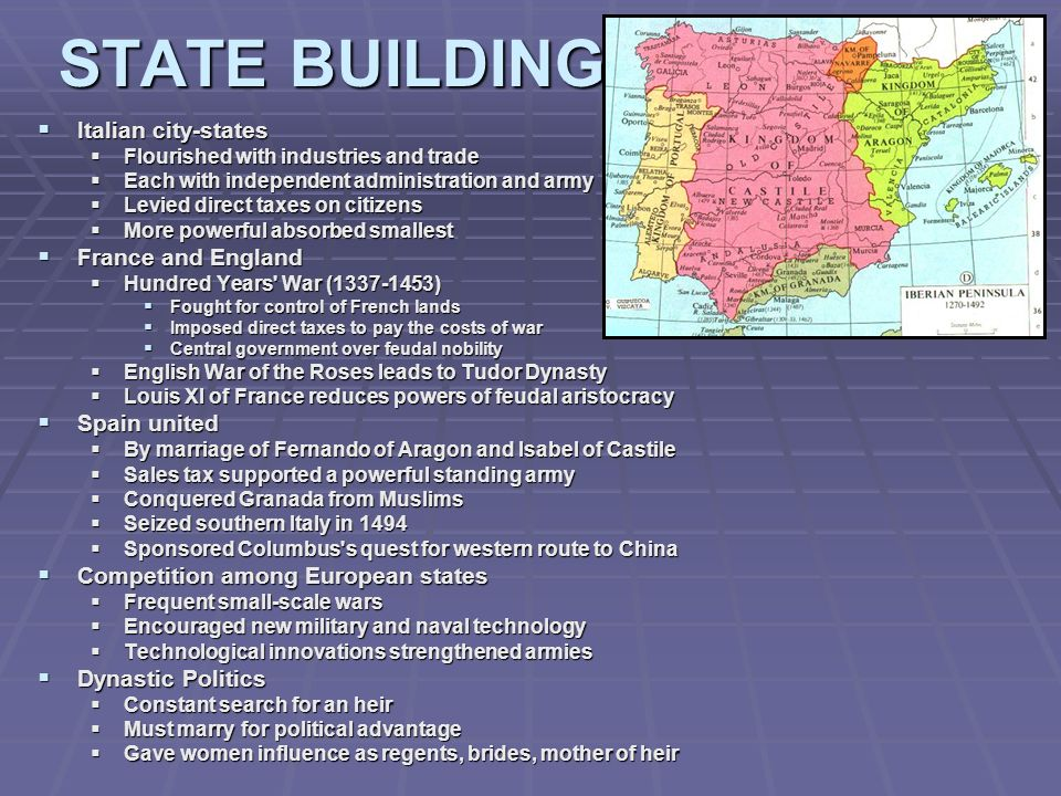 STATE BUILDING Italian city-states Italian city-states Flourished with industries and trade Flourished with industries and trade Each with independent