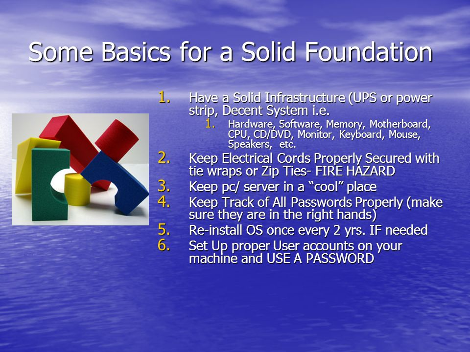 Some Basics for a Solid Foundation 1.