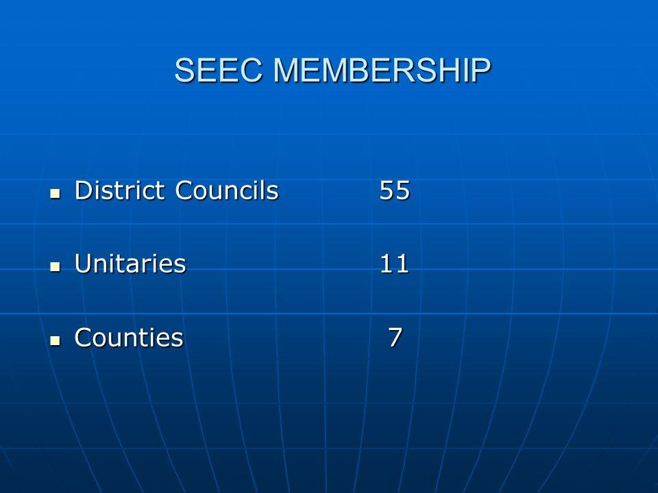 SEEC MEMBERSHIP District Councils55 District Councils55 Unitaries11 Unitaries11 Counties 7 Counties 7