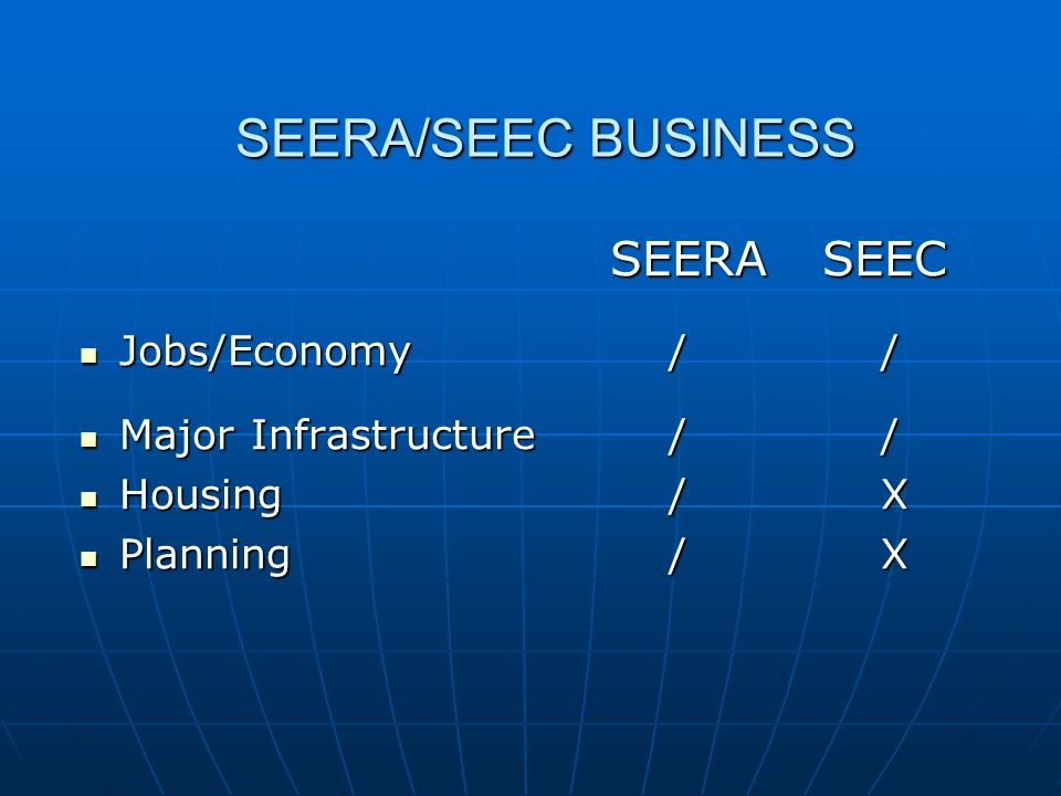 SEERA/SEEC BUSINESS SEERA SEEC SEERA SEEC Jobs/Economy / / Jobs/Economy / / Major Infrastructure / / Major Infrastructure / / Housing / X Housing / X Planning / X Planning / X