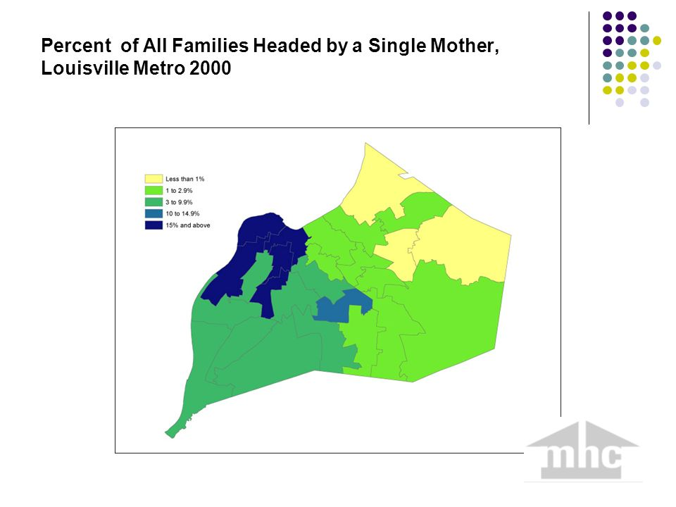 Percent of All Families Headed by a Single Mother, Louisville Metro 2000