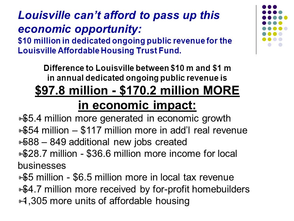 Louisville cant afford to pass up this economic opportunity: $10 million in dedicated ongoing public revenue for the Louisville Affordable Housing Tru