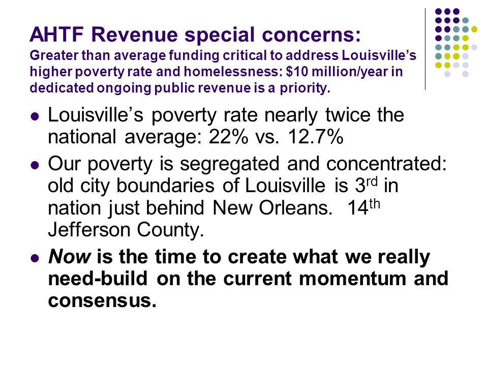 Louisvilles poverty rate nearly twice the national average: 22% vs. 12.7% Our poverty is segregated and concentrated: old city boundaries of Louisvill