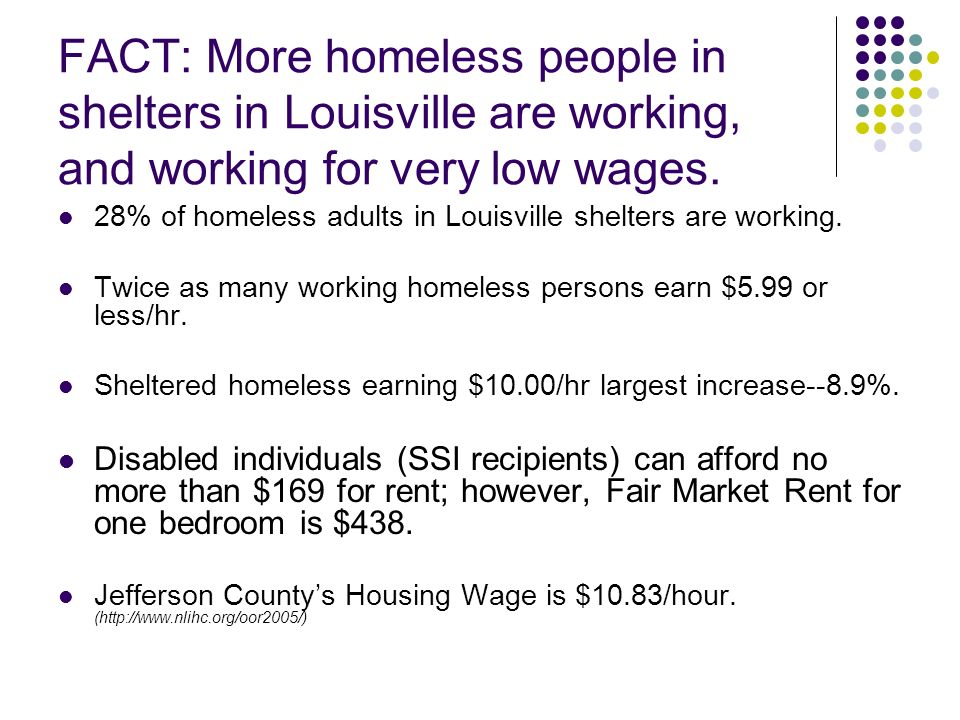 FACT: More homeless people in shelters in Louisville are working, and working for very low wages. 28% of homeless adults in Louisville shelters are wo