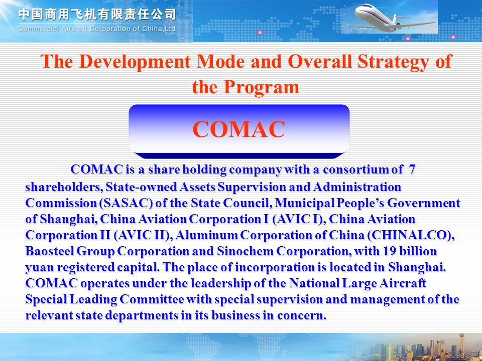 The Development Mode and Overall Strategy of the Program COMAC COMAC is a share holding company with a consortium of 7 shareholders, State-owned Asset