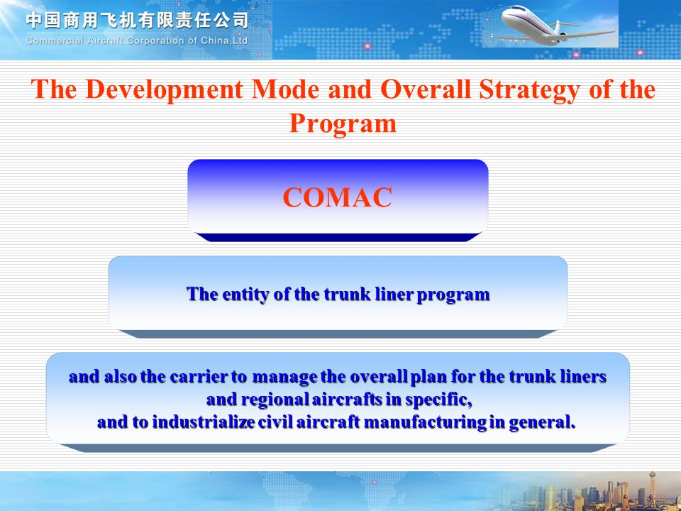 The entity of the trunk liner program The Development Mode and Overall Strategy of the Program COMAC and also the carrier to manage the overall plan f