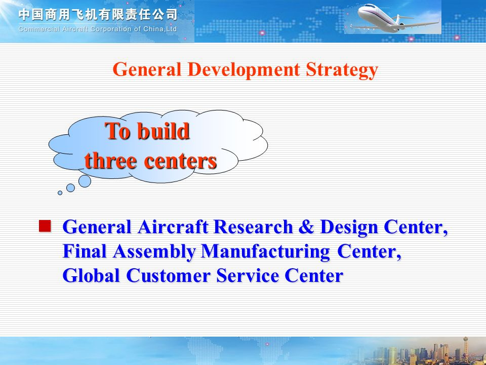 General Development Strategy To build three centers General Aircraft Research & Design Center, Final Assembly Manufacturing Center, Global Customer Se