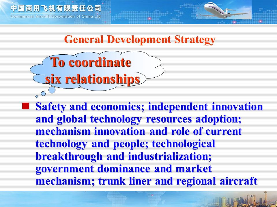 General Development Strategy To coordinate six relationships Safety and economics; independent innovation and global technology resources adoption; me