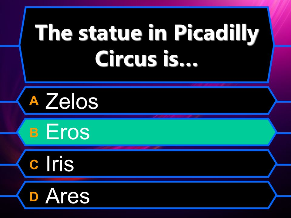 The statue in Picadilly Circus is… A B C D Zelos Eros Iris Ares